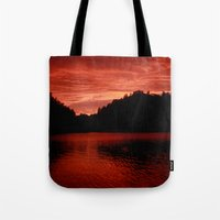 norway Tote Bags featuring Sunset Norway by Christine baessler