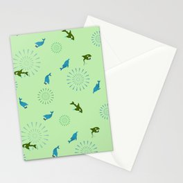 Green Orca and Dolphin Stationery Cards