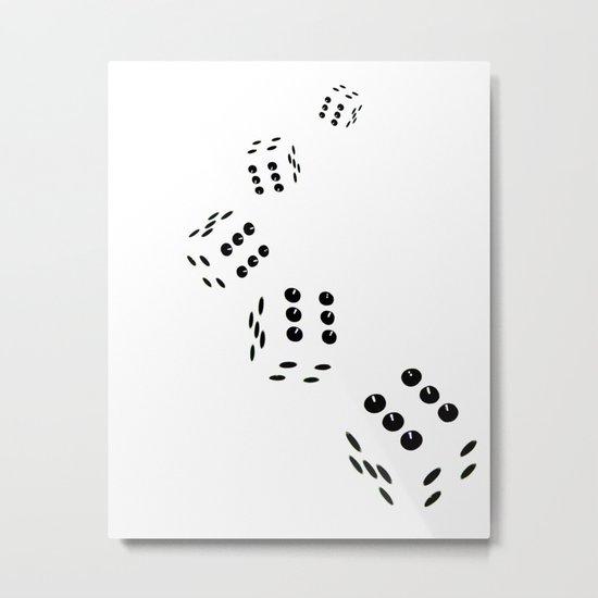 Tumbling Dice Chain White Metal Print