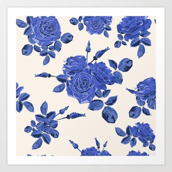 Seamless blue roses pattern Art Print