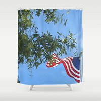 american flag Shower Curtains featuring American Flag  by KCavender Designs