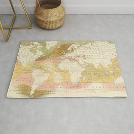 Vintage World Marine Life Map (1854) Rug
