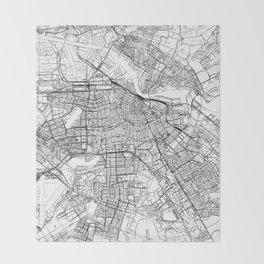 Amsterdam White Map Throw Blanket