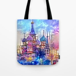 Twilight Stained Glass Saint Basil's Tote Bag