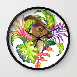 parasaur with plants Wall Clock