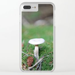 Mushroom on forest floor Clear iPhone Case