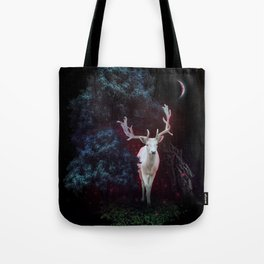 Magic white deer on moon phase dream Tote Bag