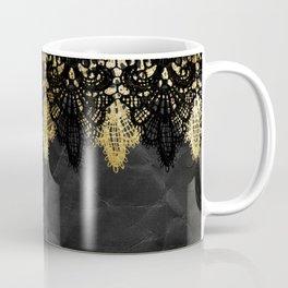 Simply elegance - Gold and black ornamental lace on black paper Coffee Mug