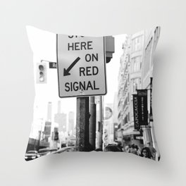 Traffic signs streets photography black and white Throw Pillow