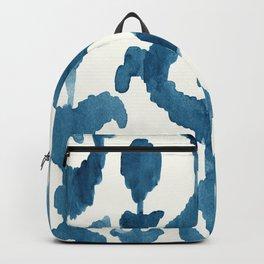 Painterly Flower Ikat Indigo Backpack