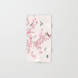 Birds and cherry blossoms Hand & Bath Towel