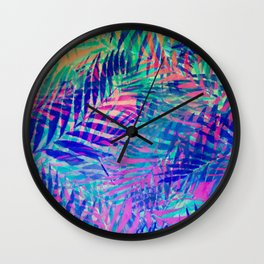 Colorful abstract palm leaves 2 Wall Clock