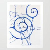 watercolor drips - blue swirl Art Print