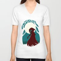 red hood V-neck T-shirts featuring Red Riding Hood 2 by Freeminds