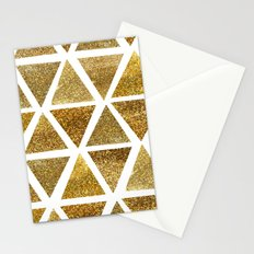 Gold Watercolor Triangles Pattern Stationery Cards
