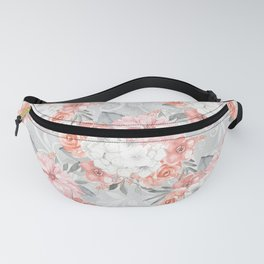 Gray & Coral Floral Pattern Fanny Pack