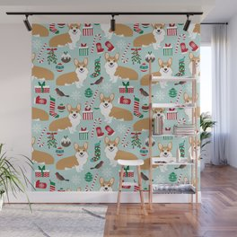 Welsh Corgi christmas holiday fabric festive pattern print by pet friendly dog breeds Wall Mural