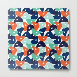Rolly Polly Fish Heads Blue Metal Print