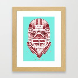 American Pug Football Red Framed Art Print
