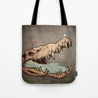 animal skull Tote Bags featuring Animal Skull and birds by Paula Belle Flores