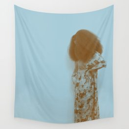 Afro Retro Moments Pale Aqua Wall Tapestry