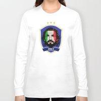 pirlo Long Sleeve T-shirts featuring Pirlo by Rudi Gundersen