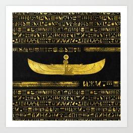 Golden Egyptian God Ornament on black leather Art Print