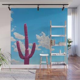 Pink Saguaro Against Blue Cloudy Sky Wall Mural