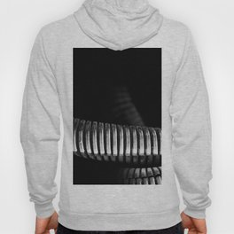 Abstract Composition Of Machine Coils In Black And White Hoody