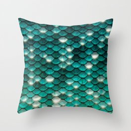 Turquoise sparkling mermaid glitter scales - Mermaidscales Throw Pillow