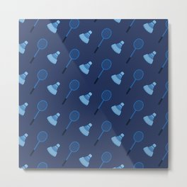 Blue Badminton Pattern Metal Print