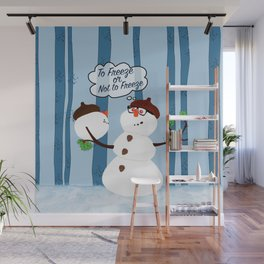 Funny Snowman Holiday Design Wall Mural