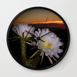 Night Blooming Cactus At Dawn Wall Clock