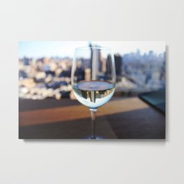 New York City Skyline in Wine Glass Metal Print