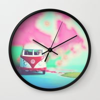 vw bus Wall Clocks featuring Red & White VW Bus by Anna Dykema Photography