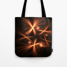 Orange abstract fractal as firework. Holiday theme. Tote Bag