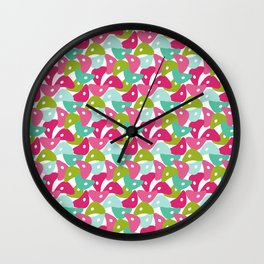 Rolly Polly Fish Heads Pink Wall Clock
