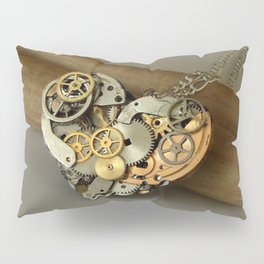 Steampunk Heart of Gold and Silver Pillow Sham