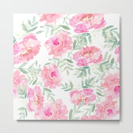 Watercolor Peonie with greenery Metal Print