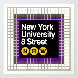 subway nyu sign Art Print