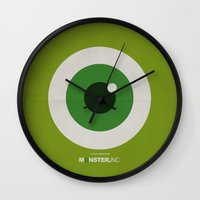 monster inc Wall Clocks featuring Monster, Inc. - Green (Vintage) by Lemontrend Studio