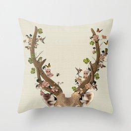 Deer Print, Flower crown, Woodlands Decor, Wall Art, Animals Print, Woodlands Nursery Art Throw Pillow