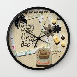 All you need in life is chocolate_yellow Wall Clock
