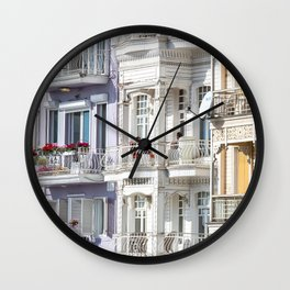 Travel Photography 'street in Arnavutkoy, in Istanbul, Turkey with colorful houses in pastel tones, fine art photo print.  Wall Clock