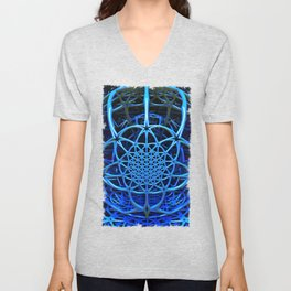 Blues - Flower of Life - Fractal - Mandala - Manafold Art Unisex V-Neck