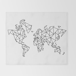 Geometric Low Poly Map of The World / Polygon geometry Throw Blanket
