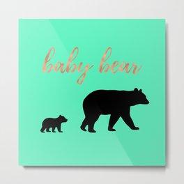 Baby Bear - Mint Rose Gold Metal Print