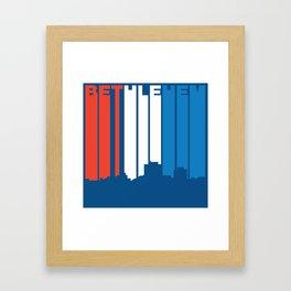 Red White And Blue Bethlehem Pennsylvania Skyline Framed Art Print