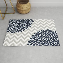 Chevron Floral Modern Navy and Grey Rug