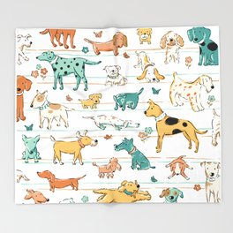 Dogs Dogs Dogs Throw Blanket